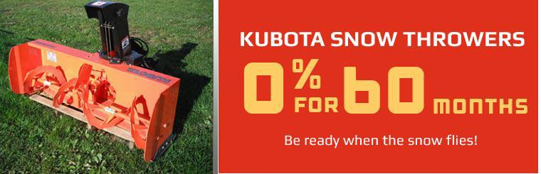Kubota Snow Throwers: Get 0% financing for 60 months!