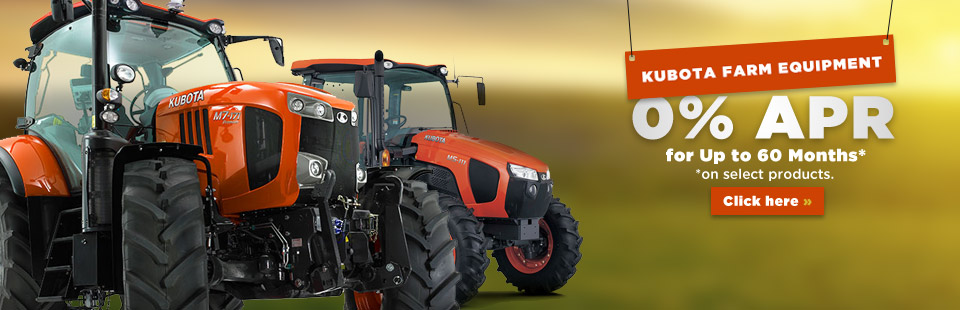 We have special financing available on Kubota Farm Equipment! Click here to view our showcase.