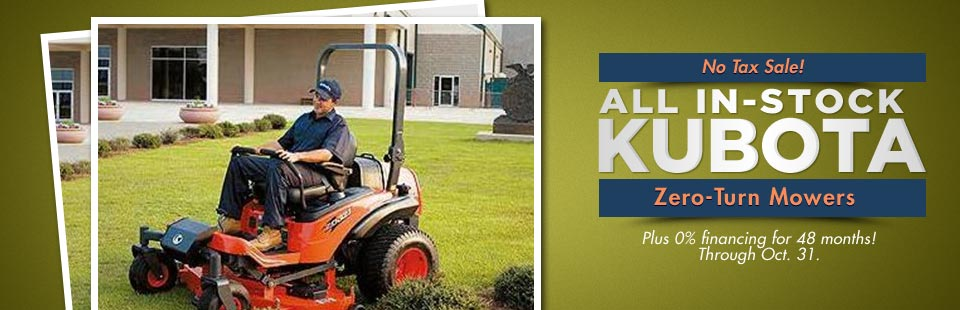 No Tax Sale on All In-Stock Kubota Zero-Turn Mowers: Plus get 0% financing for 48 months!