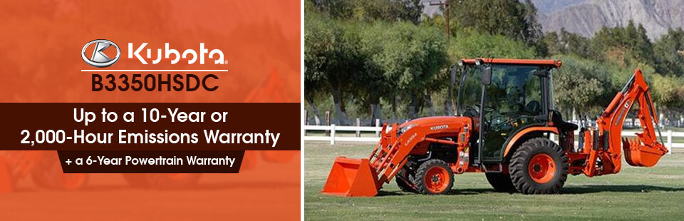 Kubota B3350HSDC: Get up to a 10-year or 2,000-hour emissions warranty plus a 6-Year powertrain warranty!