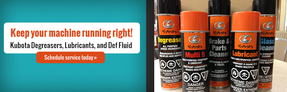 Keep your machine running right with Kubota degreasers, lubricants, and def fluid! Click here to schedule your service today.