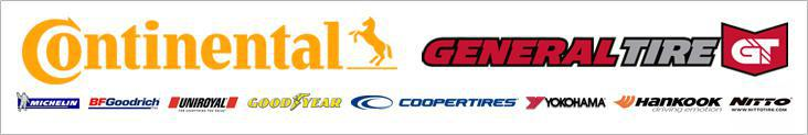 We carry products from Continental, General, Michelin®, BFGoodrich®, Uniroyal®, Goodyear, Cooper, Yokohama, Hankook, and Nitto.