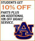 Students get 10% off parts plus an additional 10% off brake service.