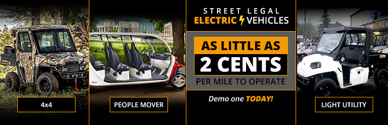 Street legal electric vehicles cost as little as 2 cents per mile to operate! Demo one today! Click here to view our selection.