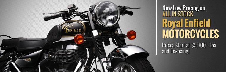 New Low Pricing on All In-Stock Royal Enfield Motorcycles: Prices start at $5,300 plus tax and licensing!
