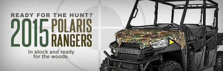 The 2015 Polaris Rangers are in stock and ready for the woods.
