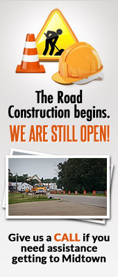 The Road Construction begins. We are still open!