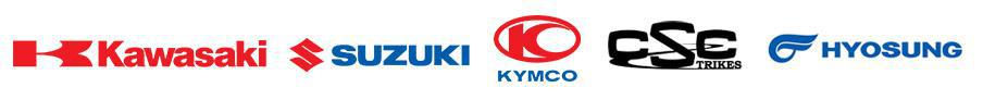 We carry products from Kawasaki, Suzuki, KYMCO, CSC, and Hyosung.