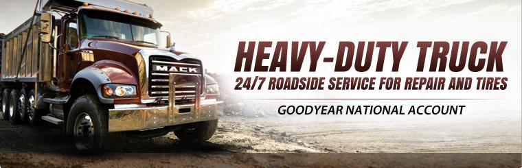 We offer heavy-duty truck 24/7 roadside service for repair and tires for Goodyear National Accounts! Click here to contact us to learn more.