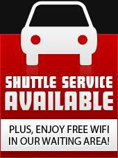 Shuttle service is available. Plus, enjoy free WiFi in our waiting area!