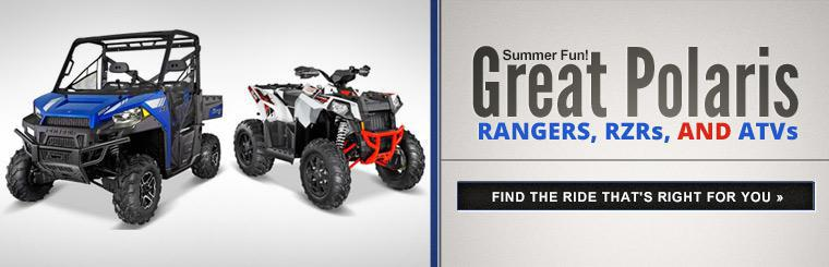 Great Polaris Rangers, RZRs, and ATVs: Click here to find the ride that's right for you.
