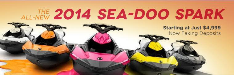 The all-new 2014 Sea-Doo Spark starts at just $4,999. We are now taking deposits! Contact us for details.