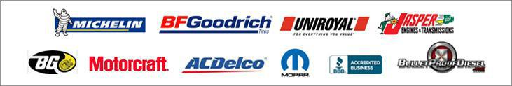 We carry products from Michelin®, BFGoodrich®, Uniroyal®, Jasper Engines & Transmissions, BG, Motorcraft, ACDelco, Mopar, and Bullet Proof Diesel. We are affiliated with the BBB.