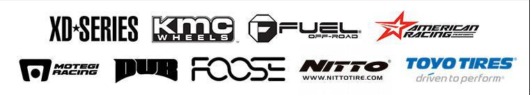 We carry products from XD WHeels, KMC, Fuel Off-Road, Amercian Racing, Motegi Racing, DUB, Foose, Nitto, and Toyo.