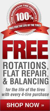 Get free rotations, flat repair, and balancing for the life of the tires with every 4-tire purchase. Shop now.