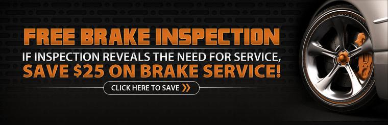 Free Brake Inspection and $25 Off Brake Service