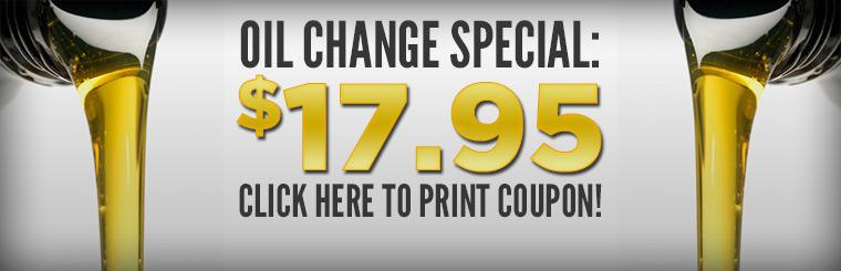 Get an oil, lube, and filter change for only $17.95. Click here to print the coupon.