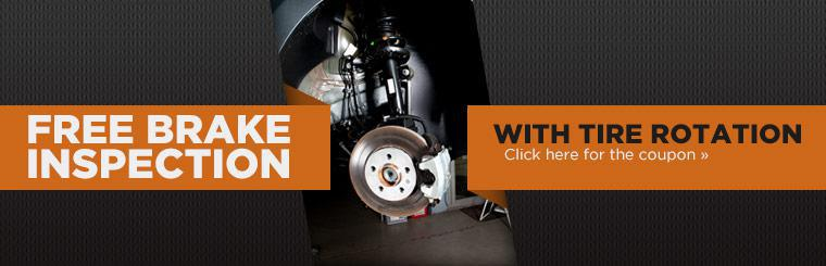 Get a free brake inspection with a tire rotation! Click here to print the coupon.