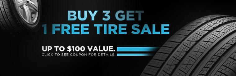 Click here for a coupon to get one free tire when you buy three.