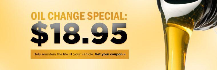 Oil Change Special: Help maintain the life of your vehicle for just $18.95! Click here to print the coupon.