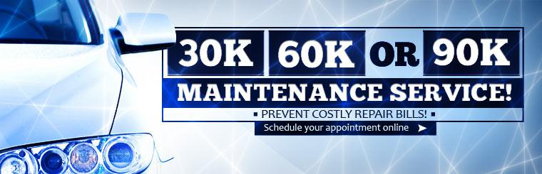 Prevent costly repair bills with 30K, 60K, or 90K maintenance service! Click here to schedule your appointment online.