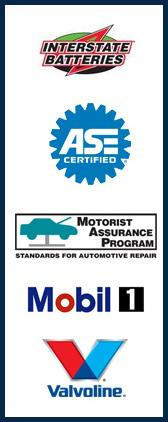 Interstate Batteries. We are ASE Certified. We are a member of the Motorist Assurance Program. Mobil 1. Valvoline.