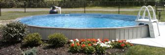21' Ultimate semi-inground display as seen at our Pettis Pools Pool Park, Greece, NY