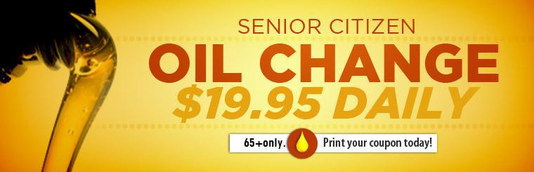 Senior citizens 65 years and older receive an oil change for just $19.95! Click here to print the coupon.