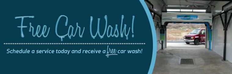 Schedule a service today and receive a free car wash! Click here to print your coupon.
