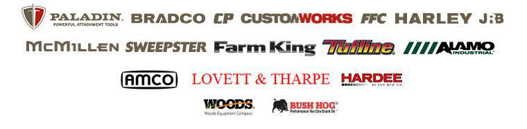 We carry products from Paladin, Bradco, CP, Custom Works, FFC, Harley, JRB, McMillen, Sweepster, Farm Kin, Tufline, Alamo, AMCO, Lovette & Tharpe, and Hardee by EVH.