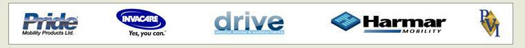 We carry products from Pride, Invacare, Drive, Harmar, and Prairie View Industries.