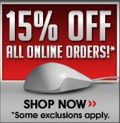 15% Off All Online Orders!* Shop now. *Some exclusions apply.