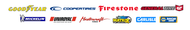 We carry products from Goodyear, Cooper, Firestone, General, Michelin®, Uniroyal®, Mastercraft, Matrix, Carlisle, and NAPA.