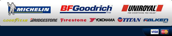 We carry products from Michelin®, BFGoodrich®, Uniroyal®, Goodyear, Bridgestone, Firestone, Yokohama, Titan, and Falken.