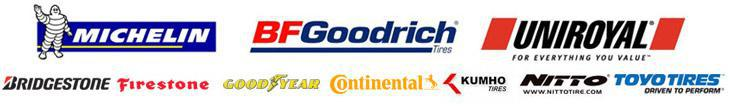 We proudly carry products from Michelin®, BFGoodrich®, Uniroyal®, Bridgestone, Firestone, Goodyear, Continental, Kumho, Nitto, and Toyo Tires.
