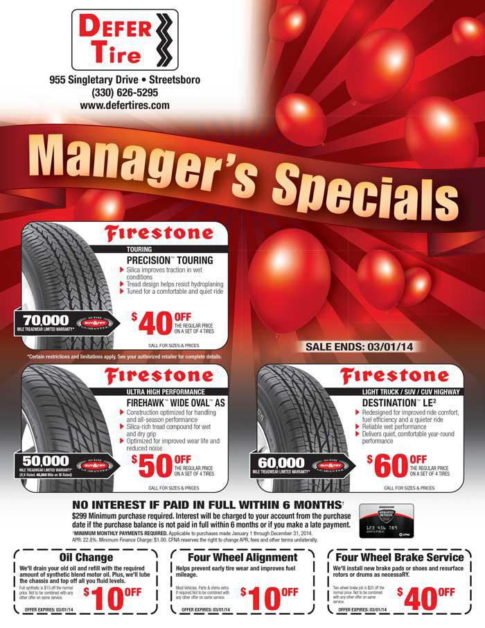Defer Tire February 2014 Manager's Specials.