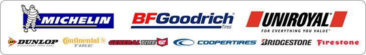 We proudly offer products from: Michelin®, BFGoodrich®, Uniroyal®, Dunlop, Continental, General, Cooper, Bridgestone, and Firestone.