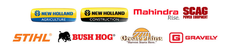 We carry products from New Holland Agriculture, New Holland Construction, Mahindra, Scag, STIHL, Bush Hog, Great Plains, and Gravely.