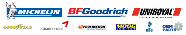We carry products from Michelin®, BFGoodrich®, Uniroyal®, Goodyear, Kumho, and Hankook. Moog. BBB. OEM Parts.