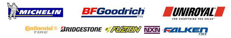We carry products from Michelin®, BFGoodrich®, Uniroyal®, Continental, Bridgestone, Fuzion, Nexen, and Falken.