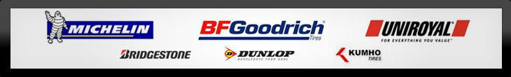 We proudly offer products from Michelin®, BFGoodrich®, Uniroyal®, Bridgestone, Dunlop, and Kumho.