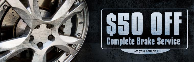 Take $50 off complete brake service! Click here for a coupon.