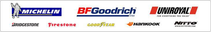 We proudly carry products from Michelin®, BFGoodrich®, Uniroyal®, Bridgestone, Firestone, Goodyear, Hankook, and Nitto.