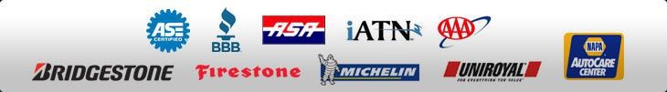 Our technicians are ASE certified. We are affiliated with the Better Business Bureau, ASA, International Automotive Technicians' Network, and AAA. We are a Napa AutoCare Center. We proudly offer products from Bridgestone, Firestone, Michelin®, and Uniroyal®.