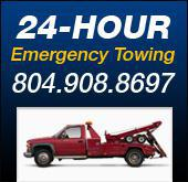 24 hour emergency towing: 804-908-8697