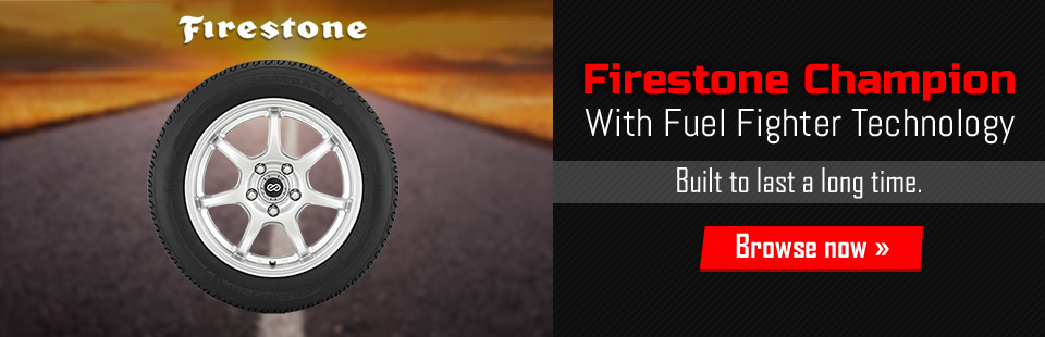 Firestone Champion tire with Fuel Fighter Technology. Available at Northwestern Tire in Minneapolis, MN