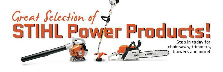 We have a great selection of STIHL power products! Stop in today for chainsaws, trimmers, blowers and more! Click here to view our selection.