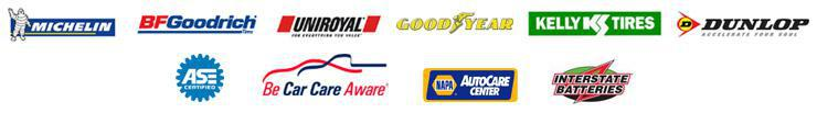 We are ASE certified and a Be Car Care Aware affiliate. We are a NAPA AutoCare Center. We proudly carry products from Michelin, BFGoodrich, Uniroyal, Goodyear, Kelly, Dunlop, and Interstate Batteries.