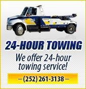 24-Hour Towing. We offer 24-hour towing service! (252) 261-3138