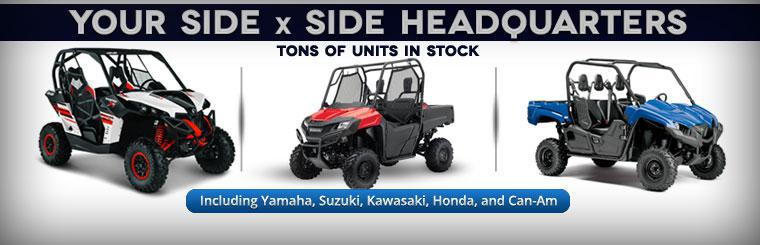 Triangle Cycle is your side x side headquarters with tons of units in stock, including Yamaha, Suzuki, Kawasaki, Honda, and Can-Am!